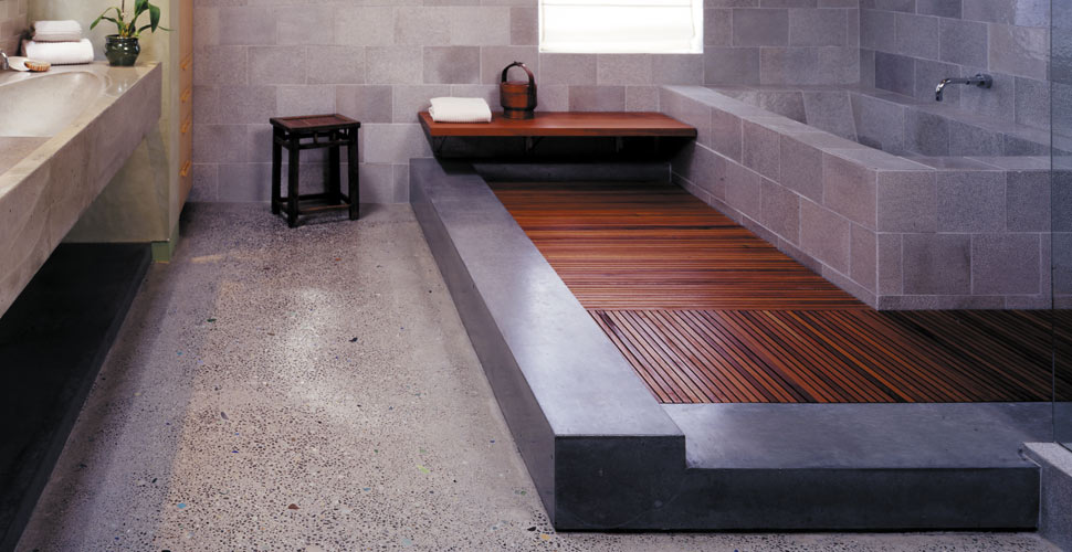 Concrete Bathroom Sink, Floor And Tub Surround By Fu Tung Cheng, Cheng  Design