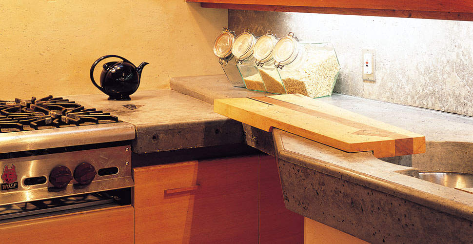 Concrete Countertop with Cutting Board by Fu-Tung Cheng | Concrete Exchange