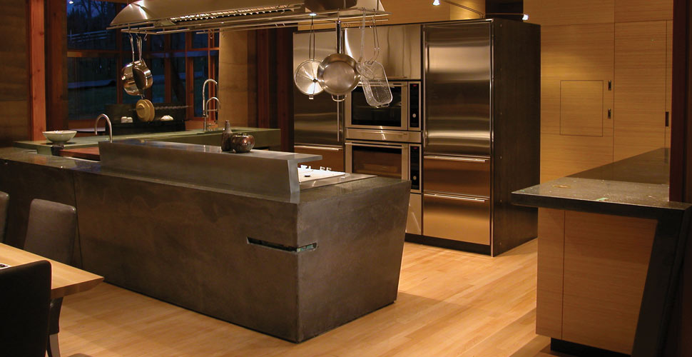 Meteor Vineyard Kitchen Concrete Countertop with Integral Drainboard by Fu-Tung Cheng, Cheng Design   CHENG Concrete Exchange