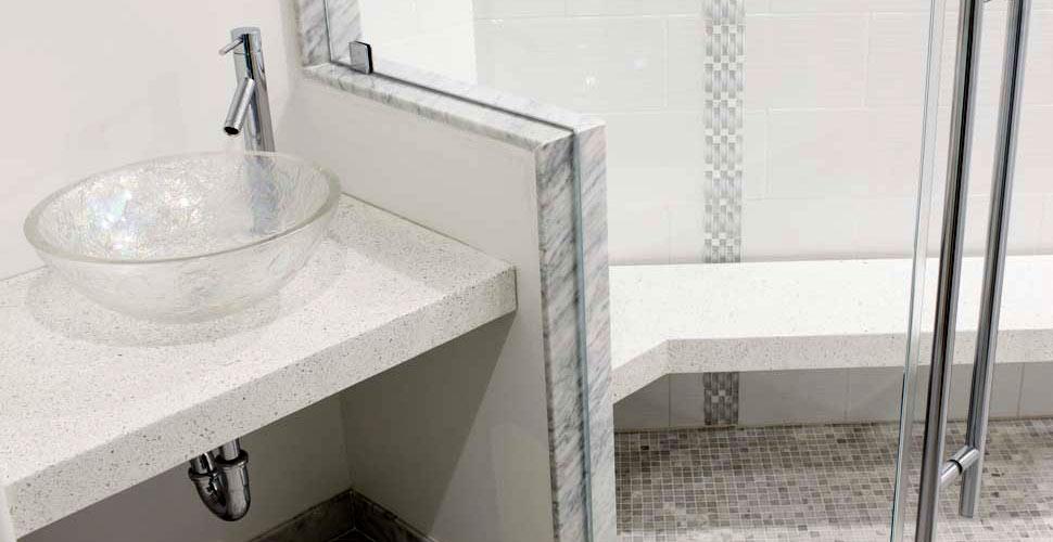 Concrete Shower Bench & Countertop | JM Lifestyles | Concrete Exchange