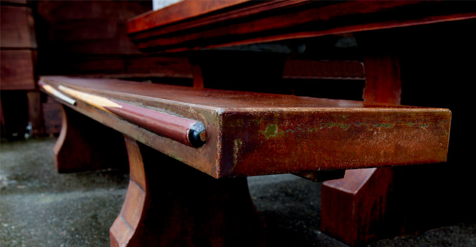 """Detail View of Bench Seat for Outdoor Concrete """"Pool"""" Table by David Jefferson 