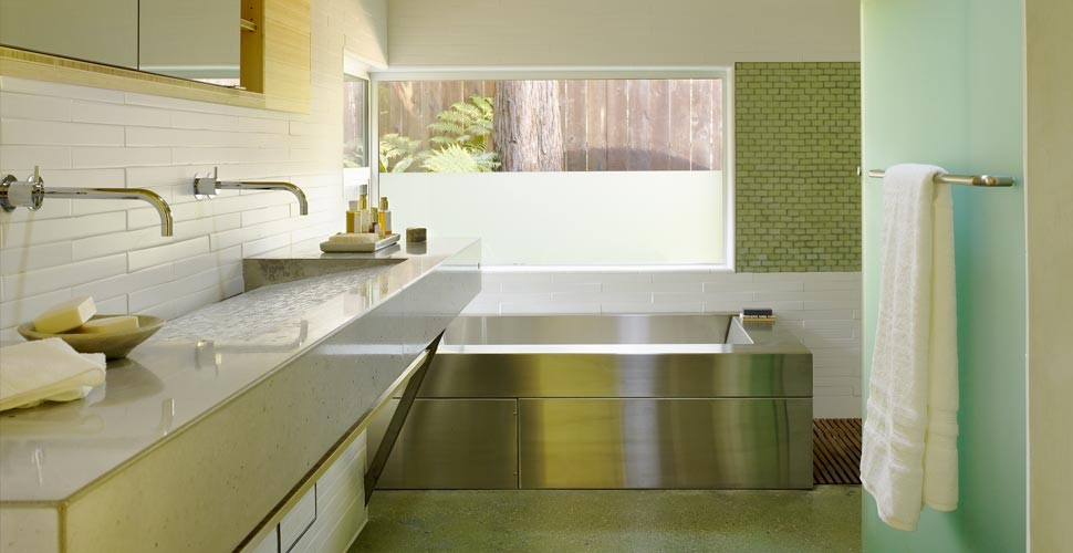 Crackle Tile Ramp Sink and Concrete Countertop by Fu-Tung Cheng | Concrete Exchange