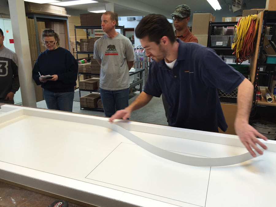 Clay adhering Edge Form Liner to Concrete Countertop Forms
