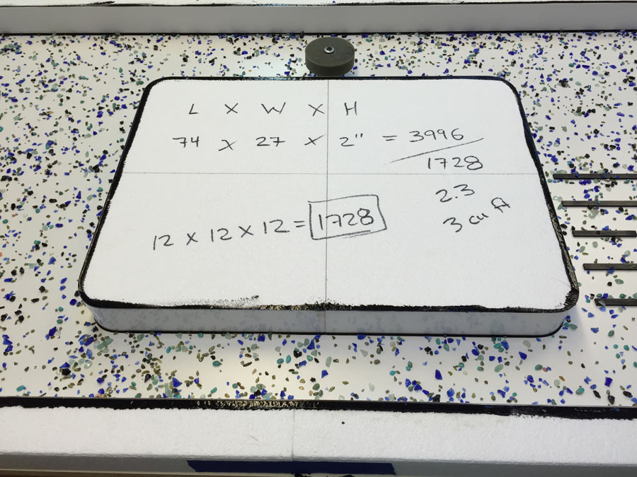 The calculations for how much concrete and Concrete Countertop Pro-Formula we will need for this mold | CHENG Concrete Exchange