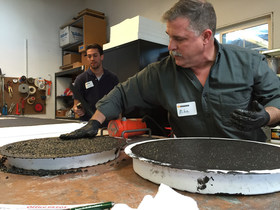 Adding the leftover concrete in to concrete stepping stone molds | CHENG Concrete Exchange